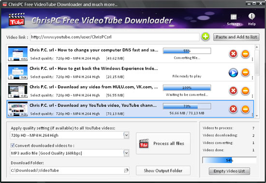 How to download all videos from any YouTube channel with ChrisPC Free VideoTube Downloader ...