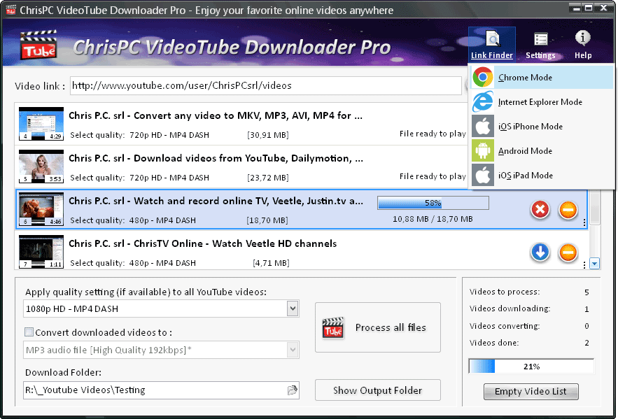 ChrisPC VideoTube Downloader Pro Screenshot
